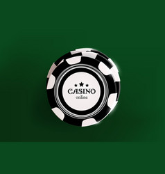 Top view of casino black and white chips on green vector