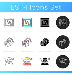Traditional recreational games icons set vector