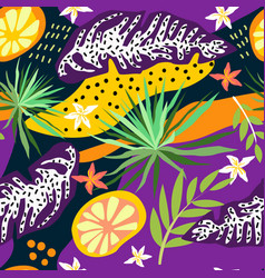 tropical leaves seamless pattern summer vector image