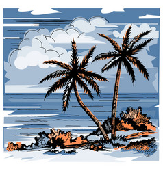 Two lonely palms and grass vector