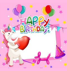 Unicorn on birthday frame vector