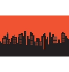 Urban silhouettes on orange backgrounds vector image