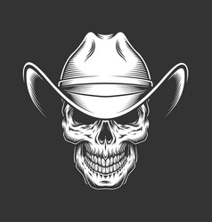 Vintage monochrome skull in cowboy hat vector