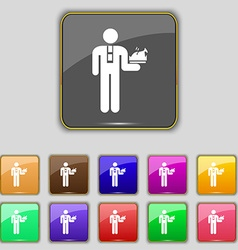Waiter icon sign Set with eleven colored buttons vector