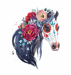 Watercolor horse portrait vector