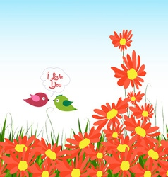 Wellcome to spring with sunflowers and couple bird vector