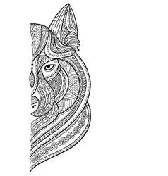 Wolf portrait aztec zenart style for your design vector