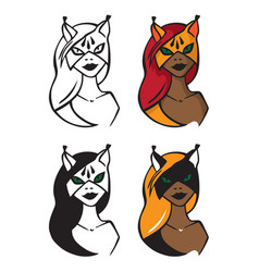 woman in cat mask vector image