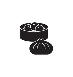 wonton dumplings black concept icon vector image