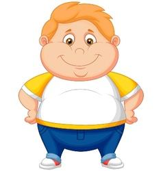 Fat boy cartoon posing vector image vector image