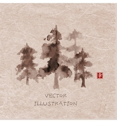 Forest trees hand drawn with ink vector image