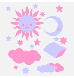 Hand Drawn flat sleeping elements vector image
