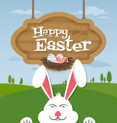 Happy easter and smiling bunny background vector image vector image