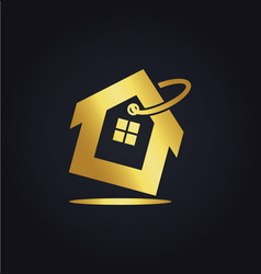 house icon sale business gold logo vector image vector image