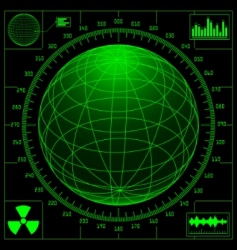 radar screen with digital glob vector image vector image
