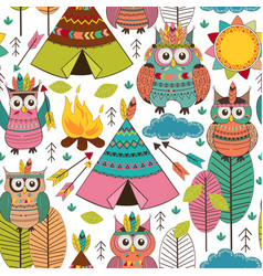 seamless pattern with tribal owls day vector image vector image