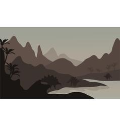 Silhouette of stegosaurus in riverbank vector