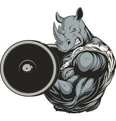Strong ferocious rhino vector
