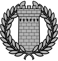 ancient tower with laurel wreath vector image vector image