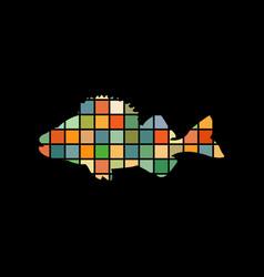 perch fish aquatic mosaic color silhouette animal vector image