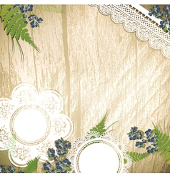 wooden background with flowers vector image vector image