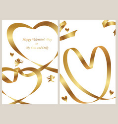 a set of two valentines day card templates vector image