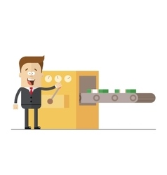 Businessman prints wads of money on the line vector image vector image