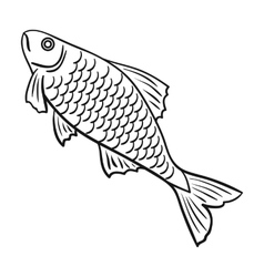 fish icon in outline style isolated on white vector image vector image - Outline Of Fish