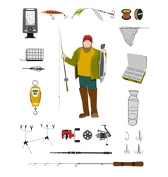 Fisherman and fishing tackle flat icon set vector image