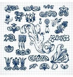 Leaves sketch set vector image