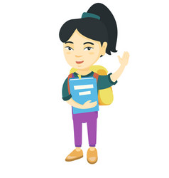 schoolgirl holding a book and waving his hand vector image
