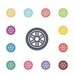 car wheel flat icons set vector image