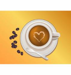 coffee bean and coffee cup vector image vector image