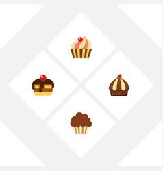 flat cake set of cupcake dessert sweetmeat and vector image