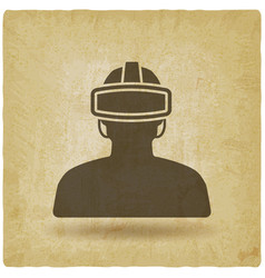 man in glasses virtual reality vintage background vector image vector image