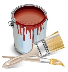 tin with paint and brushes vector image