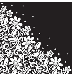 white guipure border with pearls on black vector image vector image