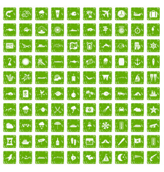 100 marine environment icons set grunge green vector