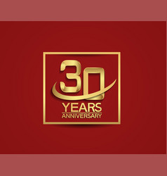 30 years anniversary with square and swoosh vector