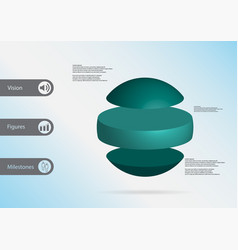 3d infographic template with ball horizontally vector
