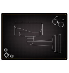 3d model of surveillance camera on a black vector image