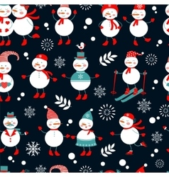 A cute snowmen seamless pattern vector image