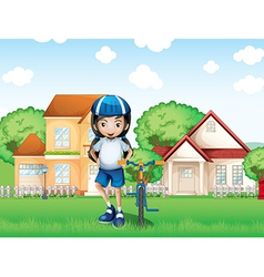 A smiling girl and her bike near the big houses vector
