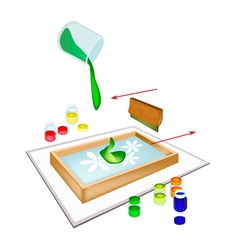 A Squeegee Screen Printing on A Tile vector image