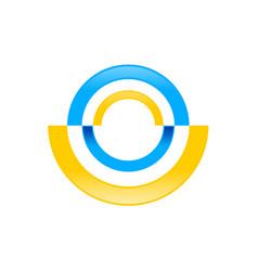 Abstract radial half disc blue yellow symbol logo vector
