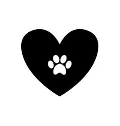 Animal pawprint inside black heart isolated on vector