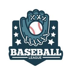 baseball league logo glove made of leather vector image