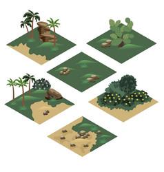 Beach landscape isometric tile set vector