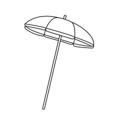 beach striped umbrella in black and white vector image