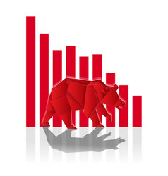Bear paper art with red bar chart for stock market vector